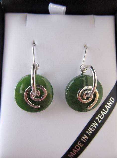 Smooth Round Greenstone Earrings with Silver Koru. Shown ion attractive gift box
