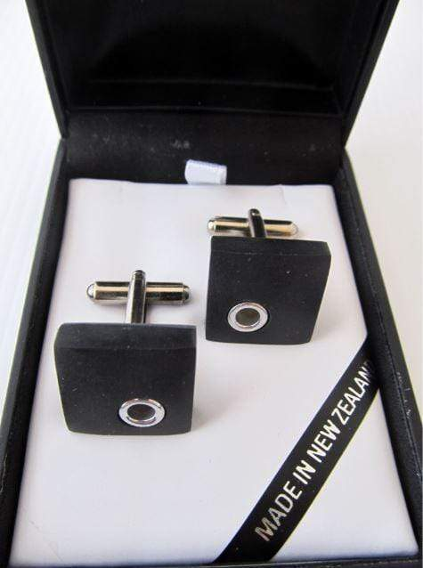 Square shaped Basalt and Silver detail Cuff-links. Shown in an attractive gift box.