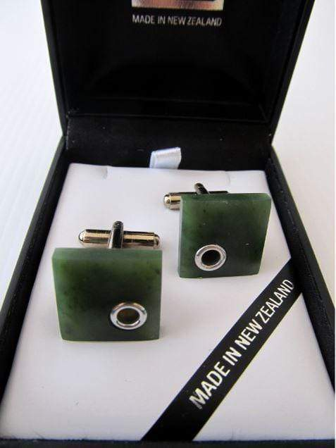 Square shaped Greenstone and Silver detail Cuff-links. Shown presented in an attractive gift box.
