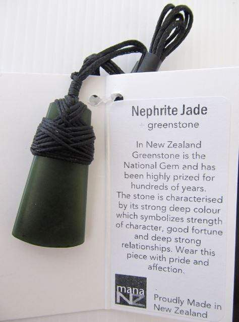 Wedge-shaped Pendant bound by Black Cord. Shown with information card