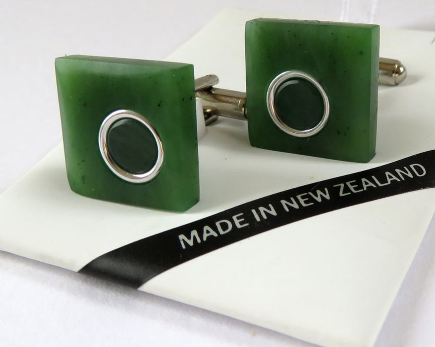 Greenstone Kiwi Creations-  Square shaped Greenstone Cufflinks