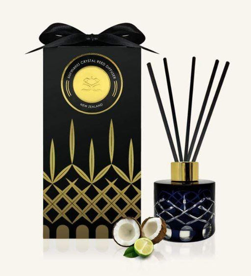 Lime Coconut & Verbena Crystal Reed Diffuser shown with packaging. Made by Surmanti.