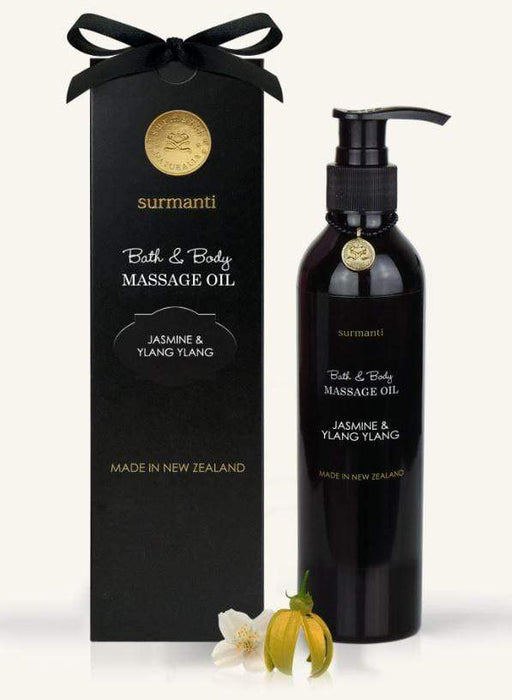 Jasmine & Ylang Ylang Bath Body & Massage Oil showing bottle and packaging