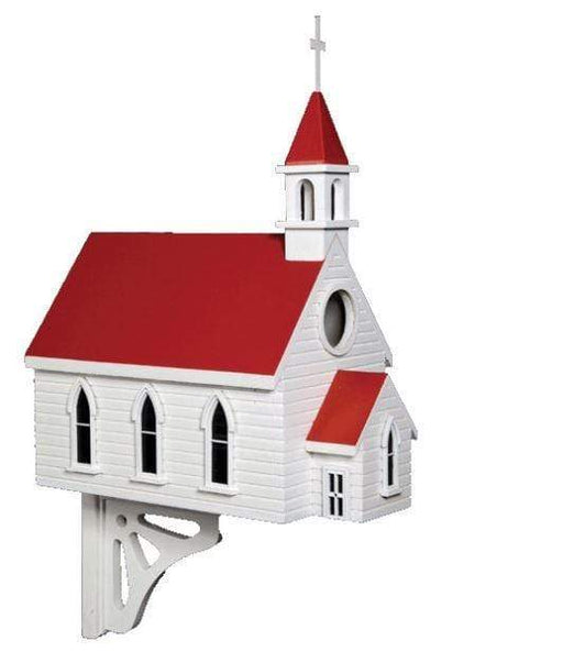 Large red and white country church birdhouse with steeple.