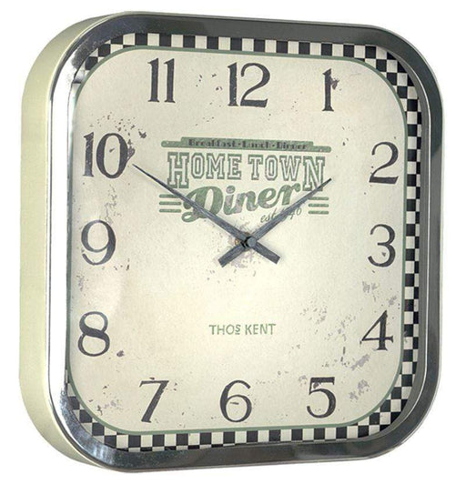 white square faced wall clock