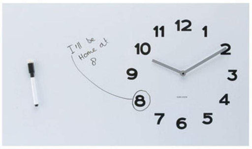 Large rectangular white board with analog clock