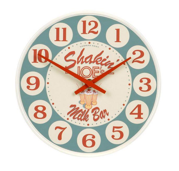 "Retro 50's-style clock with the words ""Shakin' Joes"""