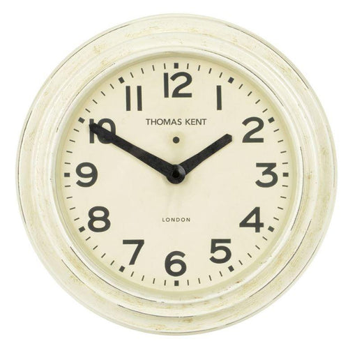 Cream aged wall clock. By Thomas Kent