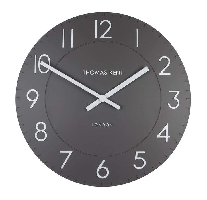 Large 51 cm Dolphin Grey Round Wall Clock. By Thomas Kent.