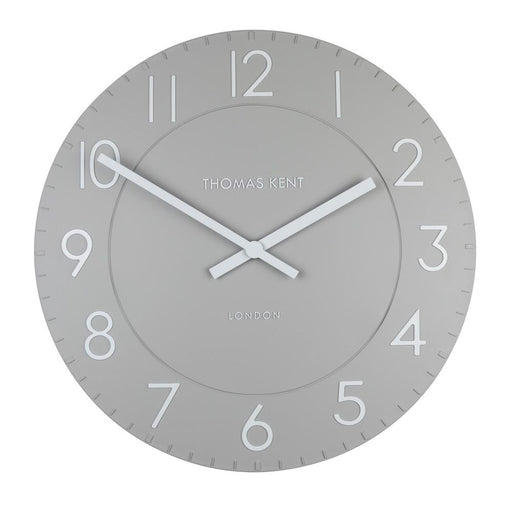 Large 51 cm Smoke Grey Round Wall Clock. By Thomas Kent.