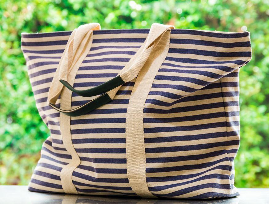 Quality blue striped Women's tote bag