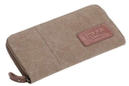 Brown canvas wallet by Troop London