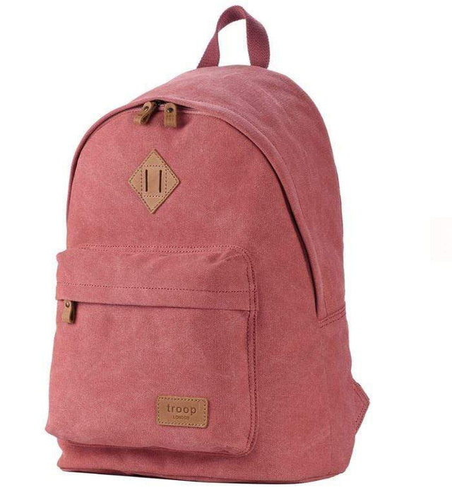 Ladies pink canvas backpack by Troop London front view