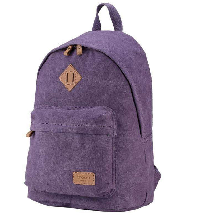 Ladies purple canvas backpack by Troop London front view