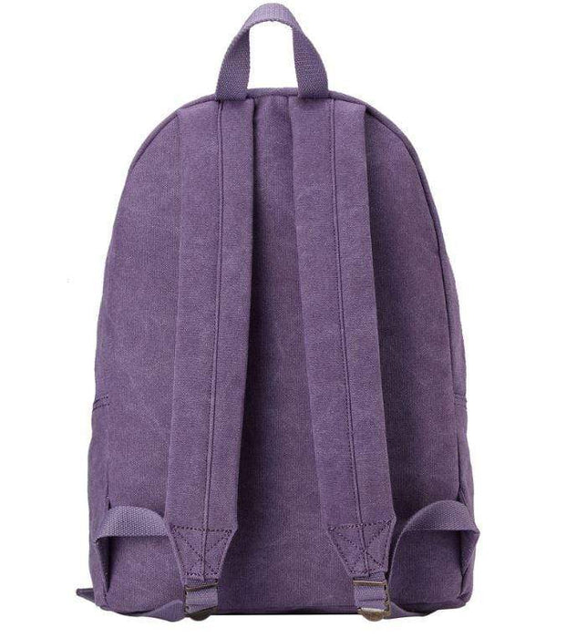 Ladies purple canvas backpack by Troop London rear view