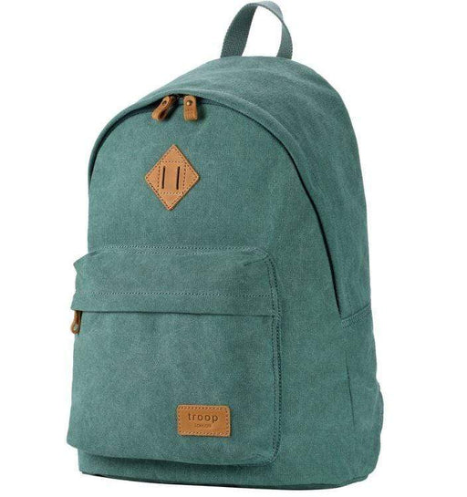 Turquoise canvas backpack by Troop London front view