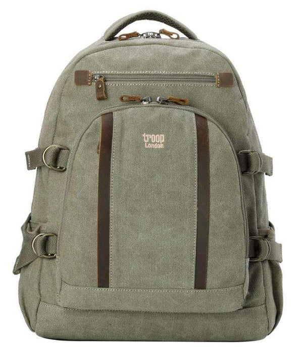 Large khaki canvas backpack by Troop London