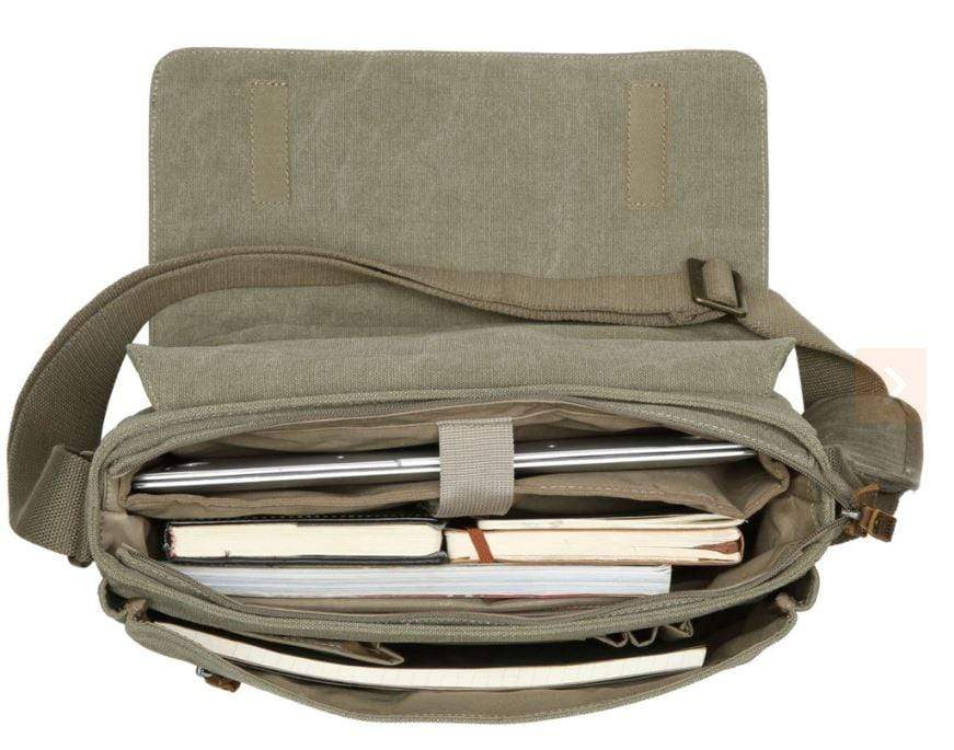 Large canvas laptop bag showing contents