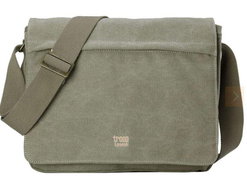 Large khaki canvas laptop bag by Troop London
