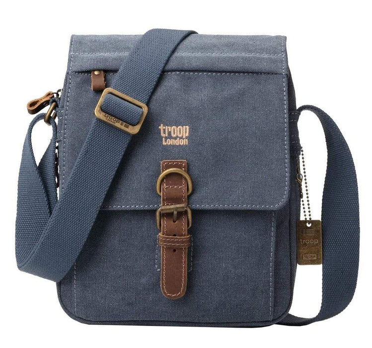 Blue canvas shoulder bag by Troop London
