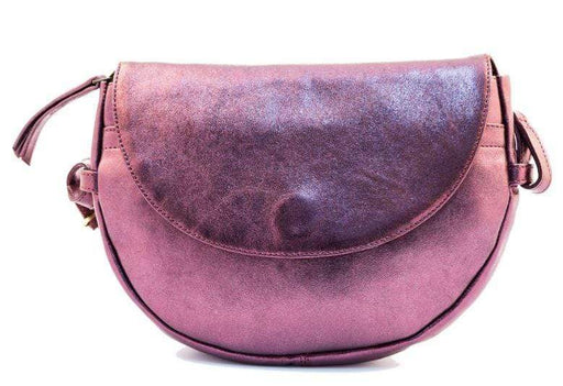 Iridescent ladies evening bag with ;long strap- cherry