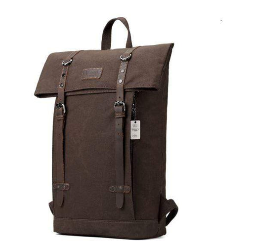 Large waxed canvas backpack with leather straps