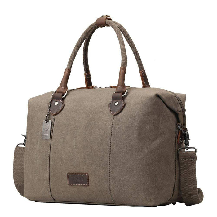 Edison waxed canvas weekend bag - olive colour