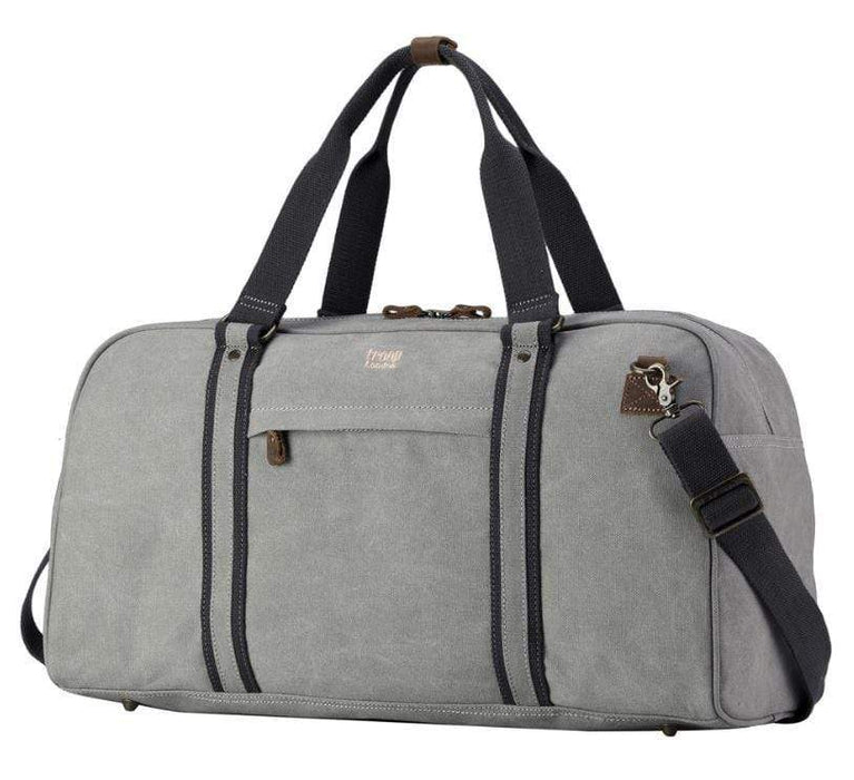 Ash grey canvas weekend bag with leather trim