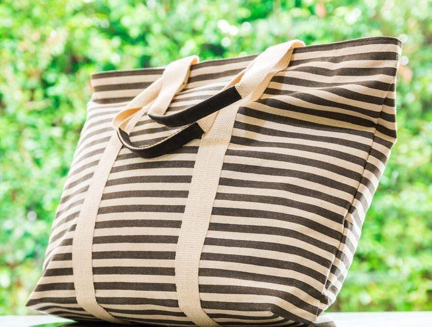 Quality grey striped Women's tote bag