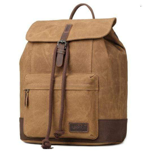 Leather and Wax Cotton Canvas Deluxe Camel coloured Backpack. By Troop London