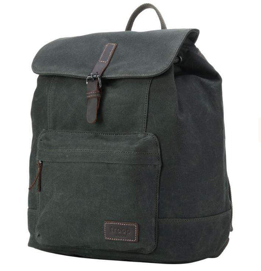 Leather and Wax Cotton Canvas Deluxe dark green coloured Backpack. By Troop London