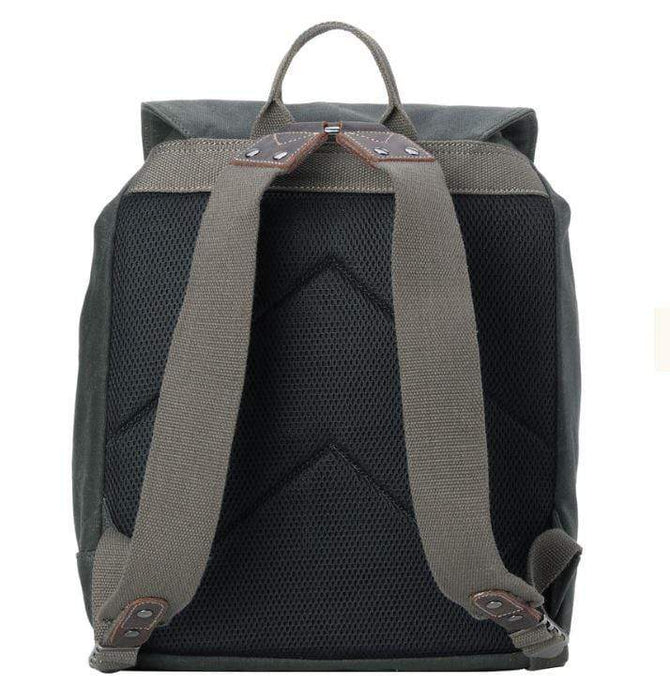 Back View of Leather and Wax Cotton Canvas Deluxe dark green coloured Backpack. By Troop London