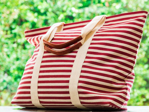 Quality red striped Women's tote bag