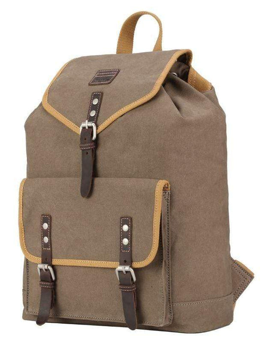 Front view Washed Brown & Mustard backpack. By Troop London