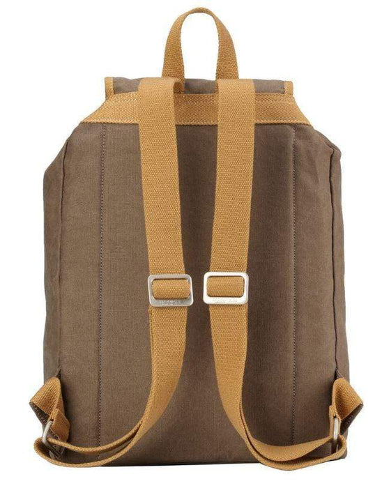 Rear view Washed Brown & Mustard backpack. By Troop London