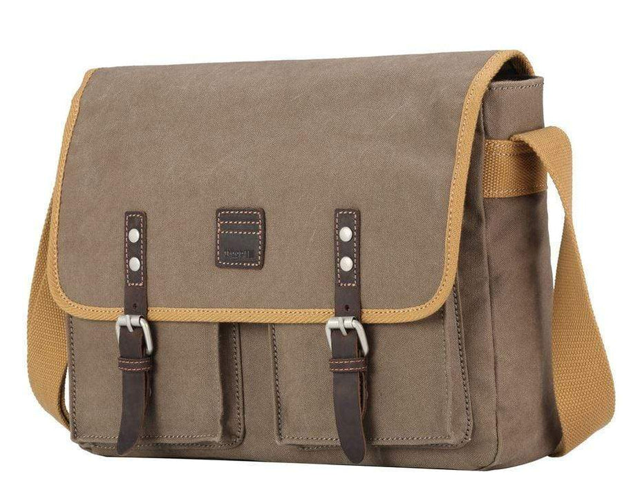 Front view Washed Brown & Mustard satchel. By Troop London