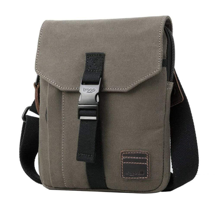 Olive Body Bag. Canvas with Leather Trim