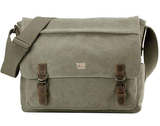 Front view of Classic Laptop Messenger Bag. By Troop London. Brown