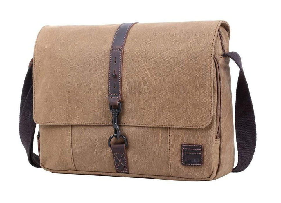 Troop London canvas and leather Satchel - Camel