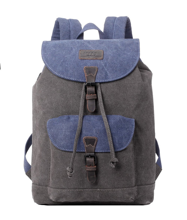 Troop London Backpack - Blue/Grey. Front view