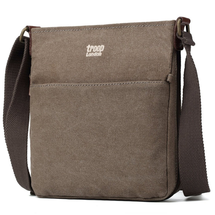 Classic Small Zip Top Shoulder Bag- Leather and Canvas Purple or Brown