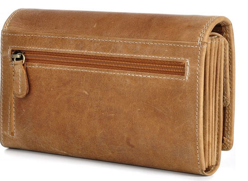 Brown ladies leather wallet zip side
