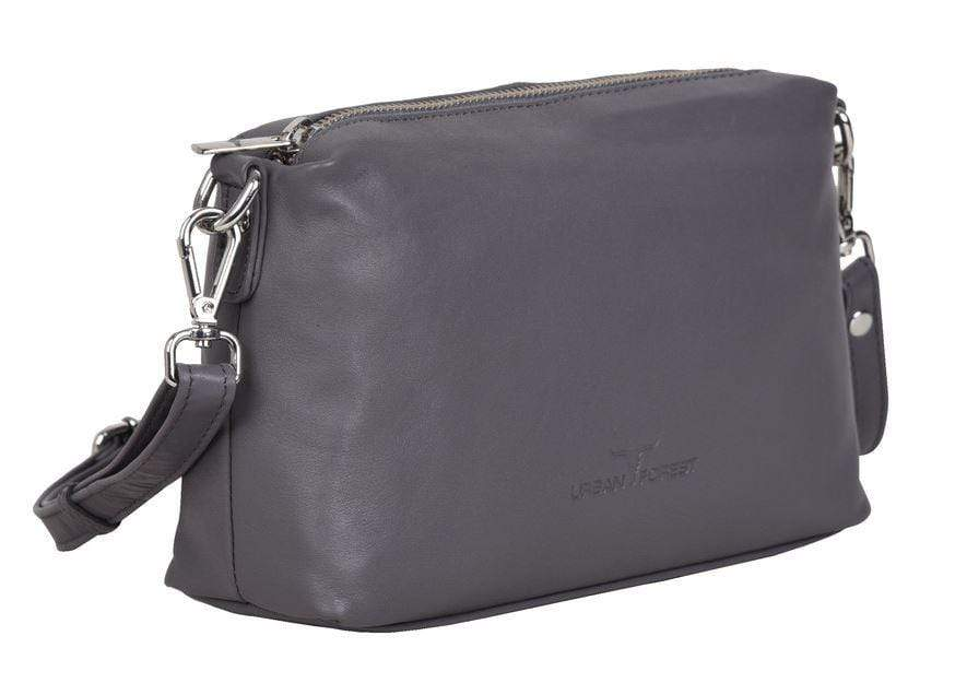 Soft grey leather luxury handbag