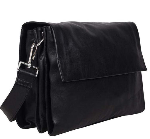 Monroe Larger Soft Leather Hand Bag w/flap -  Black
