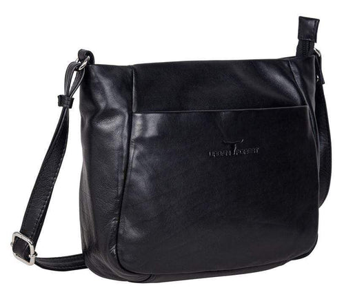Deluxe womens' leather bag. Black by Urban Forest.