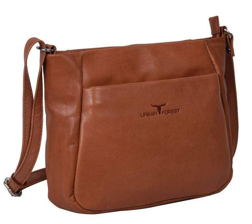 Deluxe womens' leather bag tan coloured by Urban Forest