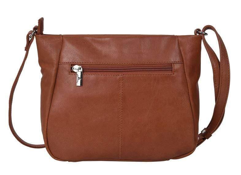 Tan coloured womens' bag showing zip