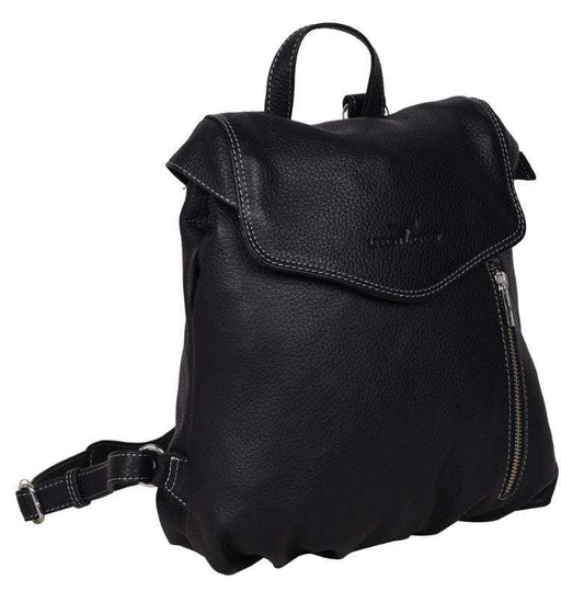 Small black leather backpack by Urban Forest