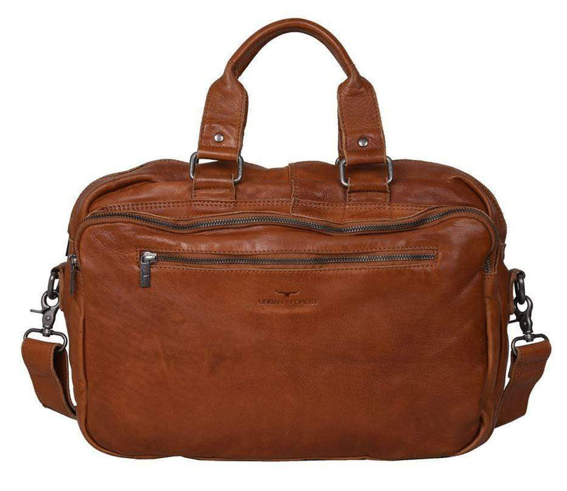 Back view of Quality Leather Laptop Satchel/Briefcase with strap and handles. By Urban Forest