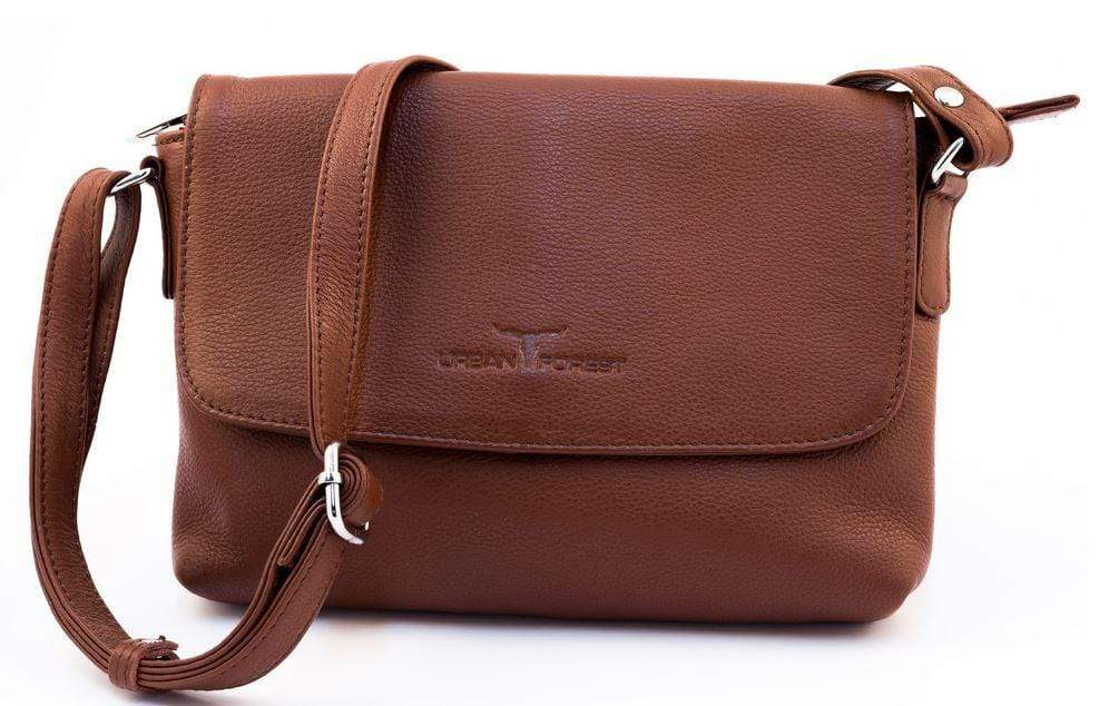 Front view of Small Leather Handbag showing strap. Tan coloured. By Urban Forest.